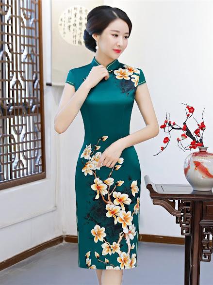 Green Cheongsam Qipao Dresses