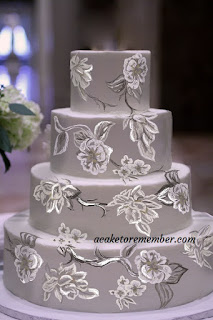 Grey Brush Embroidery Wedding Cake Design