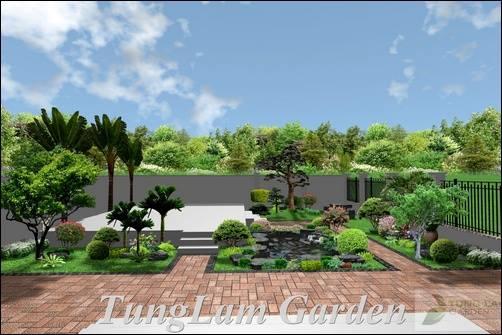 thiết kế hồ cá Koi sân vườn đẹp, TungLam Garden