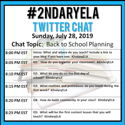 Join secondary English Language Arts teachers Sunday evenings at 8 pm EST on Twitter. This week's chat will be about back to school planning.