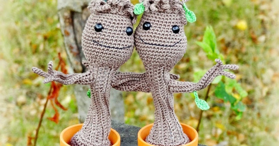 Free Crochet Pattern: Potted Baby Groot from Guardians of the ... | 499x950