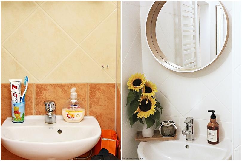 malowanie płytek ceramicznych w łazience efekt przed i po