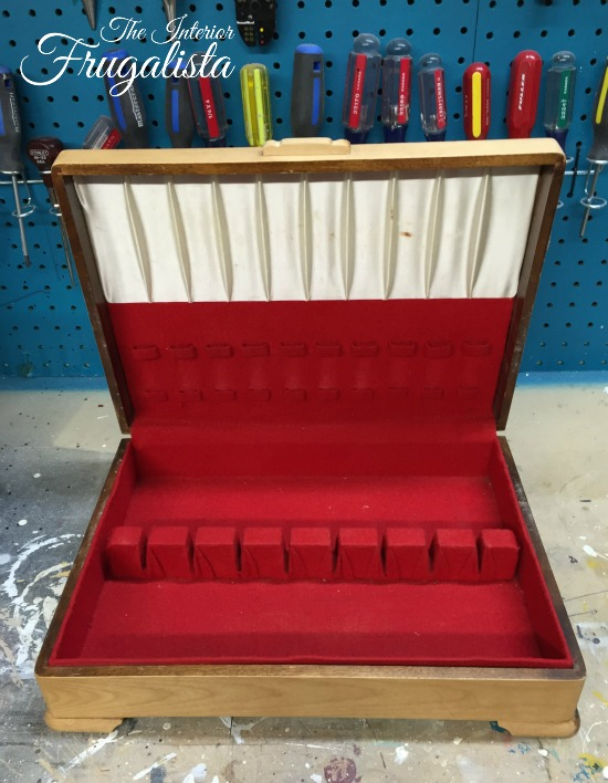Wooden Flatware Chest Interior Before
