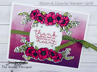 This card uses the Bloom & Grow bundle by Stampin' Up! plus the Tasteful Labels dies and Artistry Blooms Designer Series Paper (DSP).  The images are colored in with Stampin' Blends.  See the blog post for supply list and video.  #StampinUp #StampTherapist #BloomandGrow