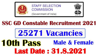 GD Constable Recruitment For 25271 Posts 2021