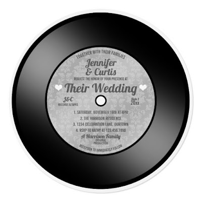 Retro Vinyl Record Wedding Invitation