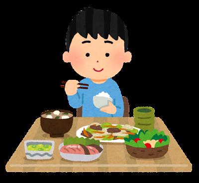 静かに食事をする子供のイラスト(男の子)