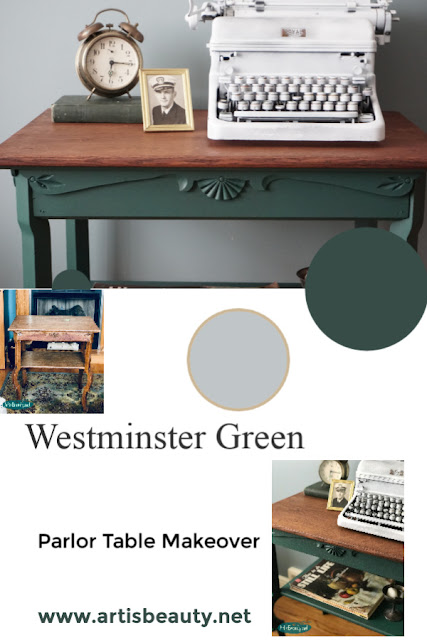 Westminster Green Milk Paint Antique Parlor Table Makeover General Finishes