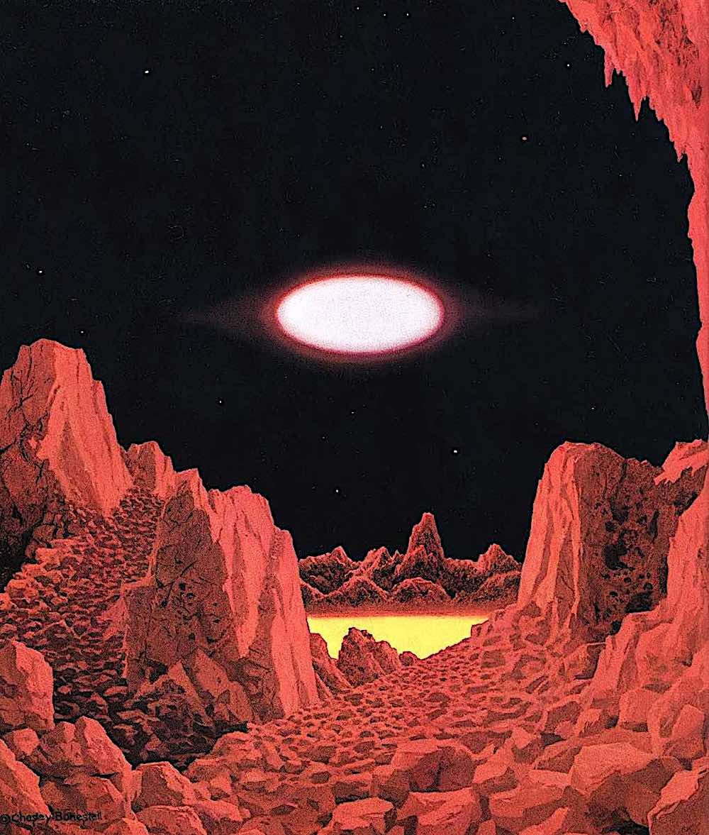 a Chesley Bonestell illustration of another world in space