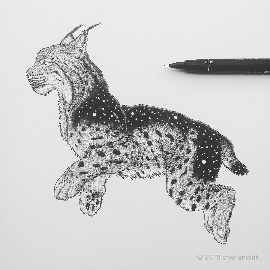 01-Iberian-Lynx-Astral-Animals-Chen-Naje-www-designstack-co