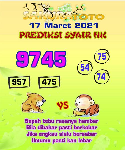 Syair HK Rabu 17 Maret 2021 -