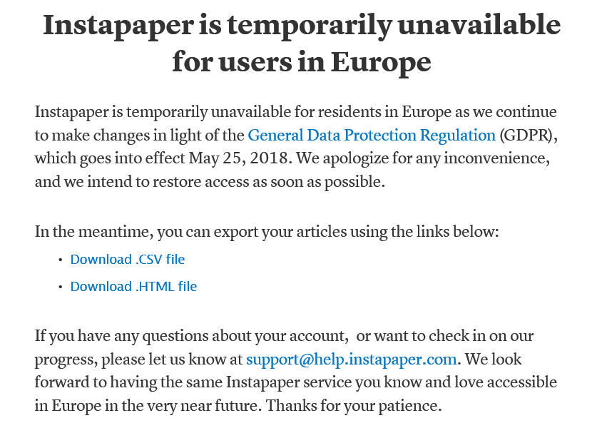Instapaper temporarily unavailable for users in Europe