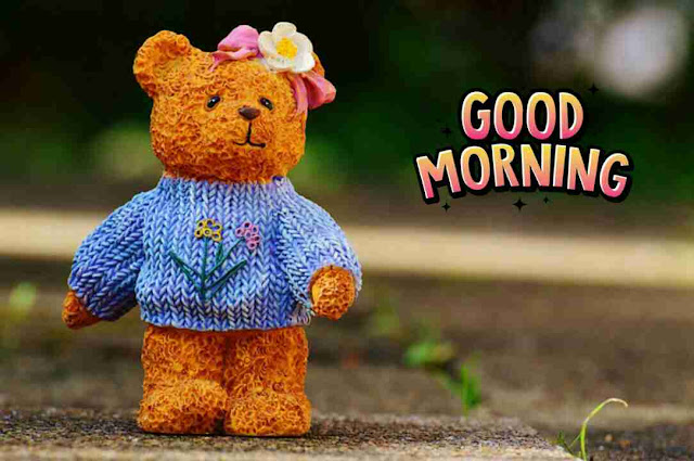 beautiful good morning image with cute teddy
