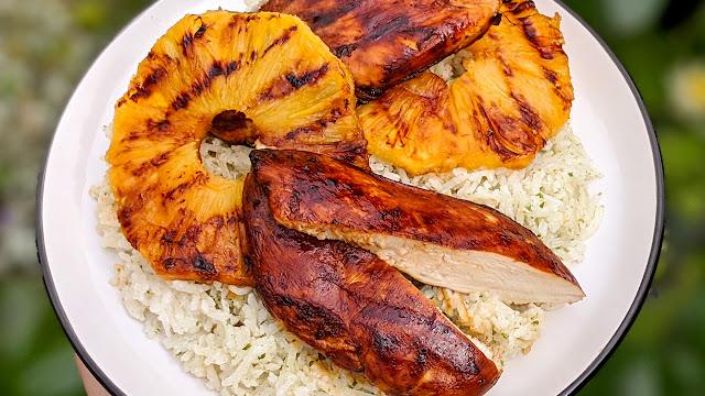 recette, poulet, ananas, riz, coco, marinade