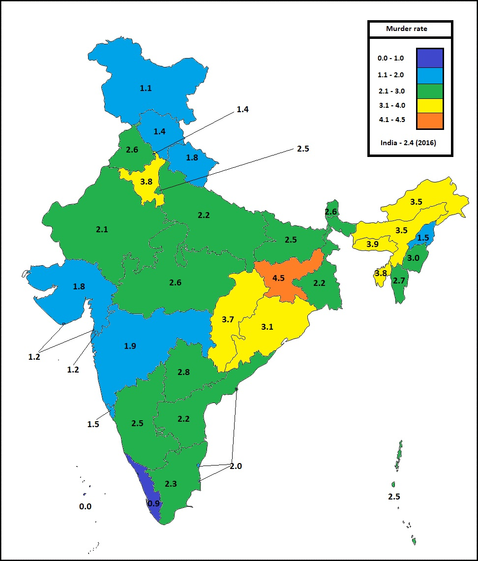 murder rate in indian states