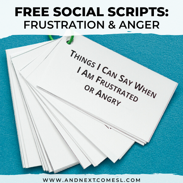 Free printable social script about frustration and anger