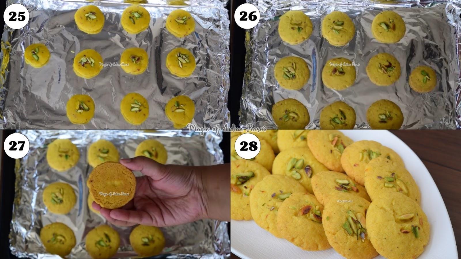 Kesar Pista Nankhatai in Kadai & in Oven Recipe - Bakery style Nan Khatai - Eggless Cookies -  केसर पिस्ता नानखटाई बिना ओवन - बेकरी स्टाइल नानकटाई - एगलेस कूकीज रेसिपी - Priya R - Magic of Indian Rasoi