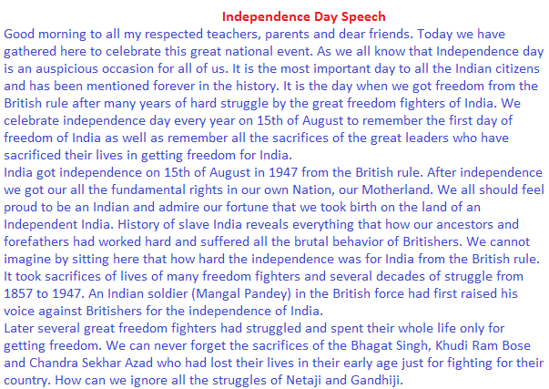 essay on indian independence day for kids