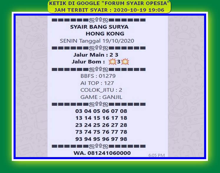 Kode syair Hongkong senin 19 oktober 2020 27