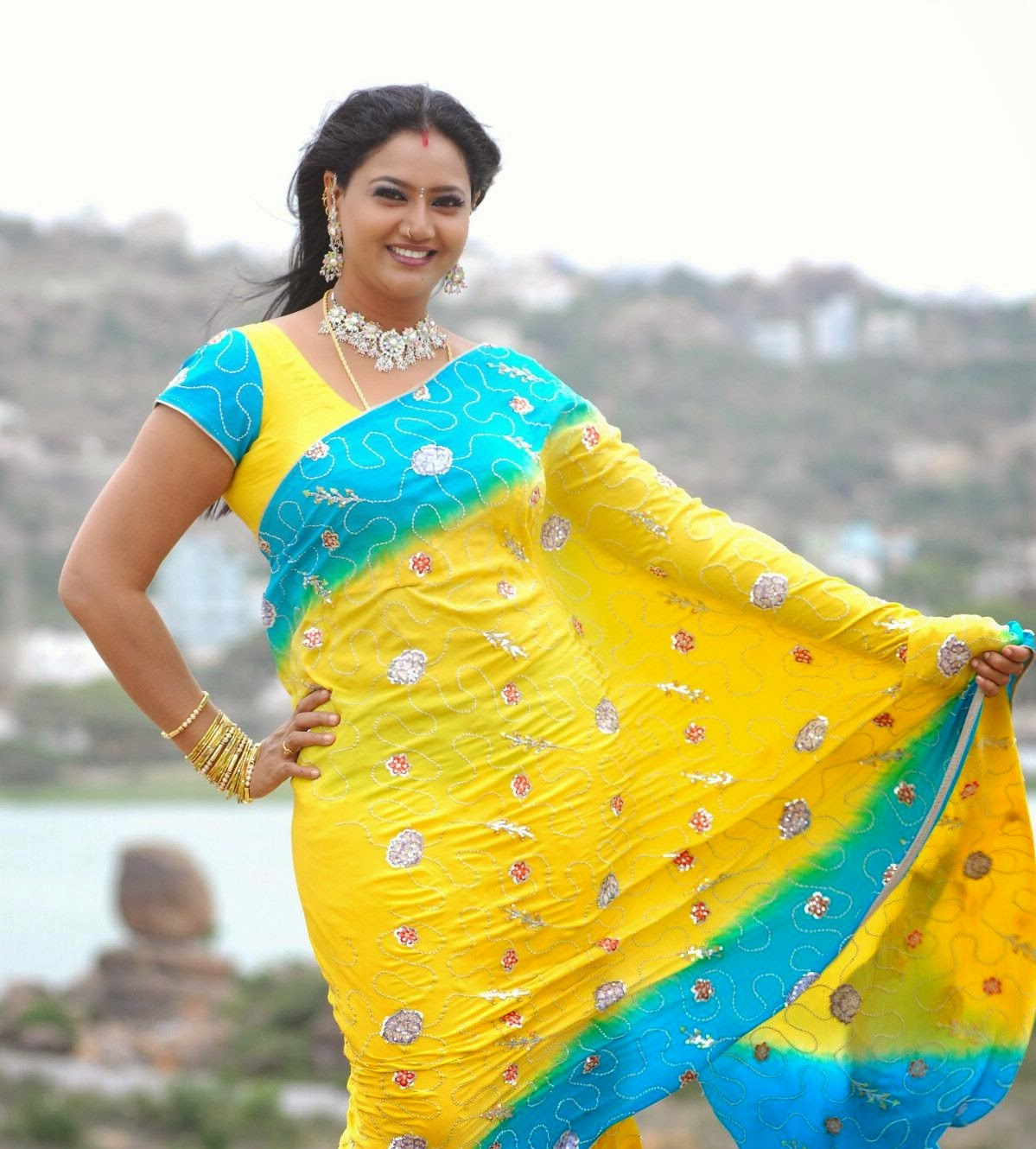 Hot Actress Raksha Hot Navel In Saree Photos.