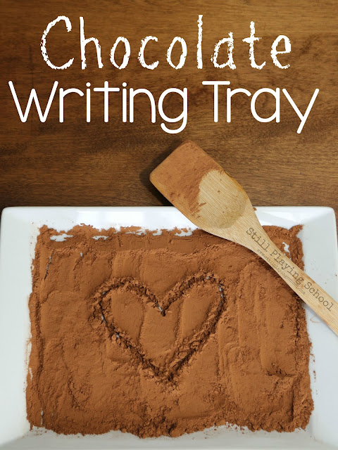 A chocolate writing tray is a delicious sensory experience for kids!