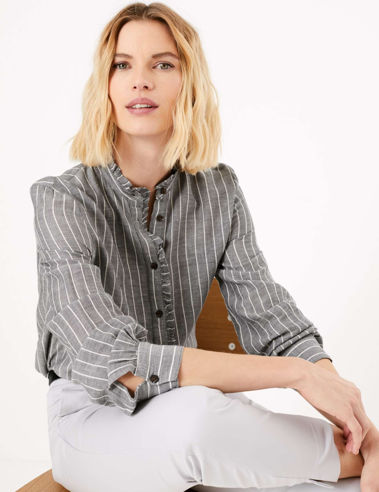 Marks and Spencer cotton rich ruffled striped longline blouse