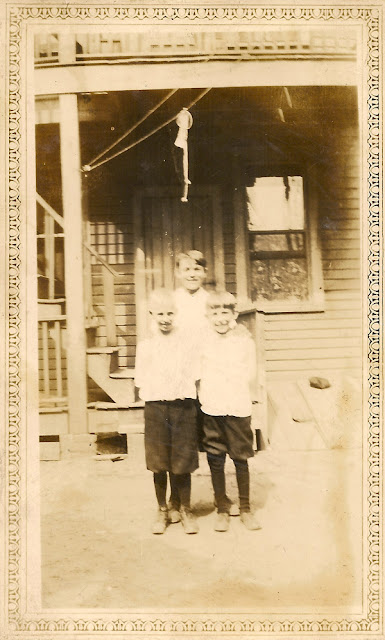 There's a familiar, if unidentified face here - the boy on the right appears in other photos. These three boys remain unidentified. They are probably associated with the Karvoius family of Elizabeth, NJ. Photo looks like it's from the 1920's. Collection of E. Ackermann.