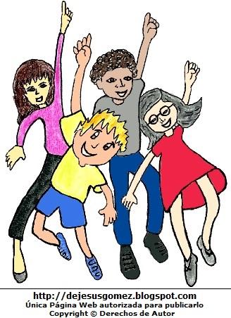 Imagen por el Día de la Juventud a colores para niños. Dibujo por el Dia Internacional de la Juventud hecho por Jesus Gómez