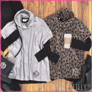 Monogrammed Cowl Neck Poncho from Marleylilly.com