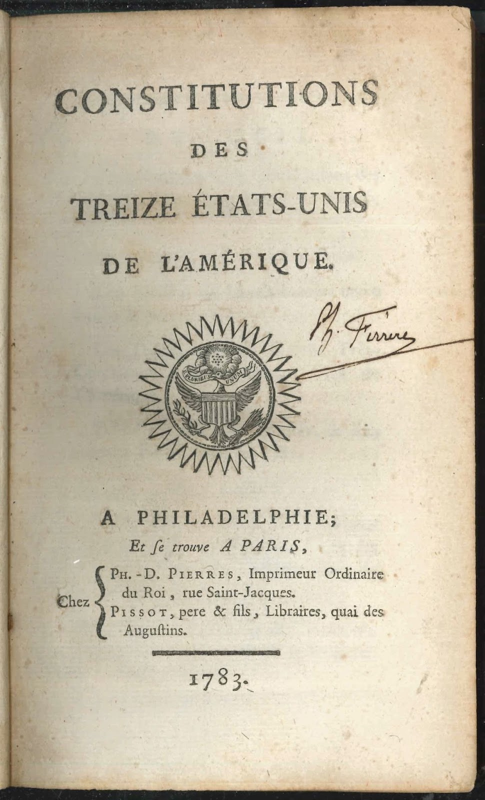 A title page for the Constitution in French.
