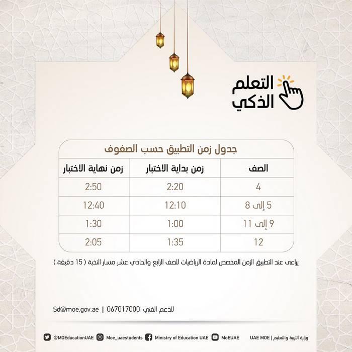 وزارة التربية والتعليم بالامارات تعتمد جدول الاختبارات المركزية للفصل الدراسي الثالث 2020 لطلبة المدارس الحكومية