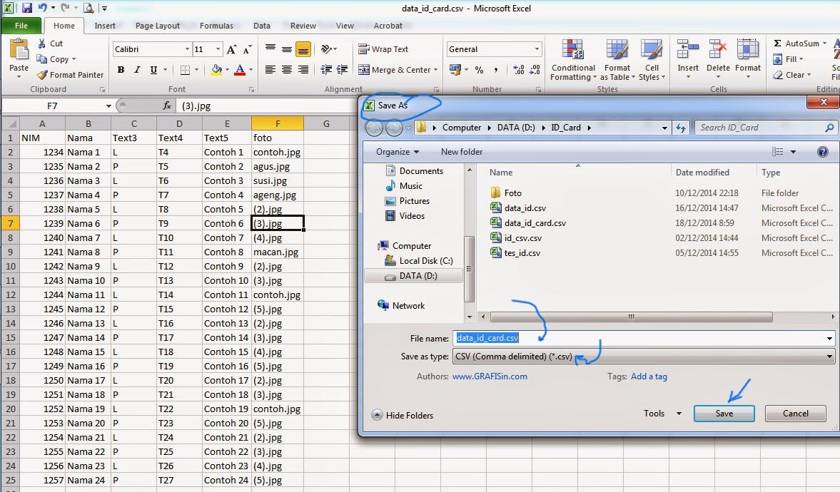 Membuat File Excel ke CSV untuk Print Merge CorelDraw
