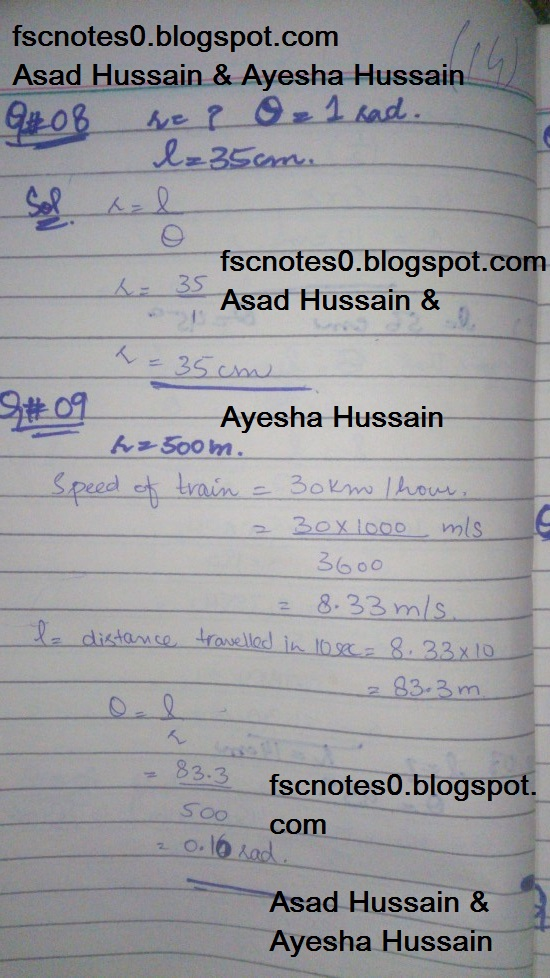 FSc ICS FA Notes Math Part 1 Chapter 9 Fundamentals of Trigonometry Exercise 9.1 Question 8 - 13 by Asad Hussain & Ayesha Hussain
