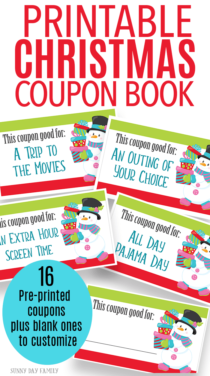 Printable Christmas coupons are the perfect stocking stuffer for anyone on your list! Includes 16 pre printed coupons and 4 blank coupons to customize your gift. A great stocking stuffer for kids - also makes a great gift for Mom and Dad! #giftideas #stockingstuffer #Christmasprintables #Christmasforkids
