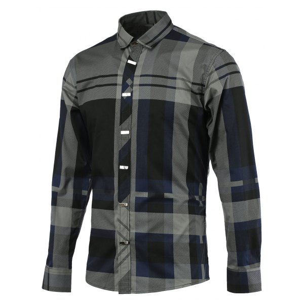 Color Block Spliced Tartan Turn-down Collar Long Sleeve Shirt For Men - Blue Xl