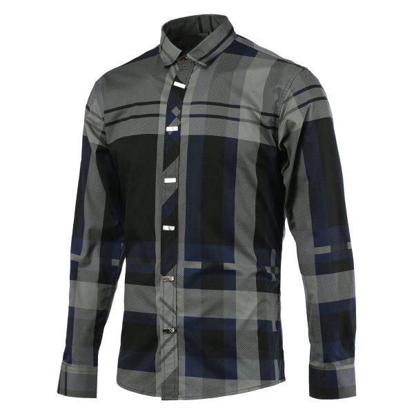 Color Block Spliced Tartan Turn-down Collar Long Sleeve Shirt For Men - Blue Xl