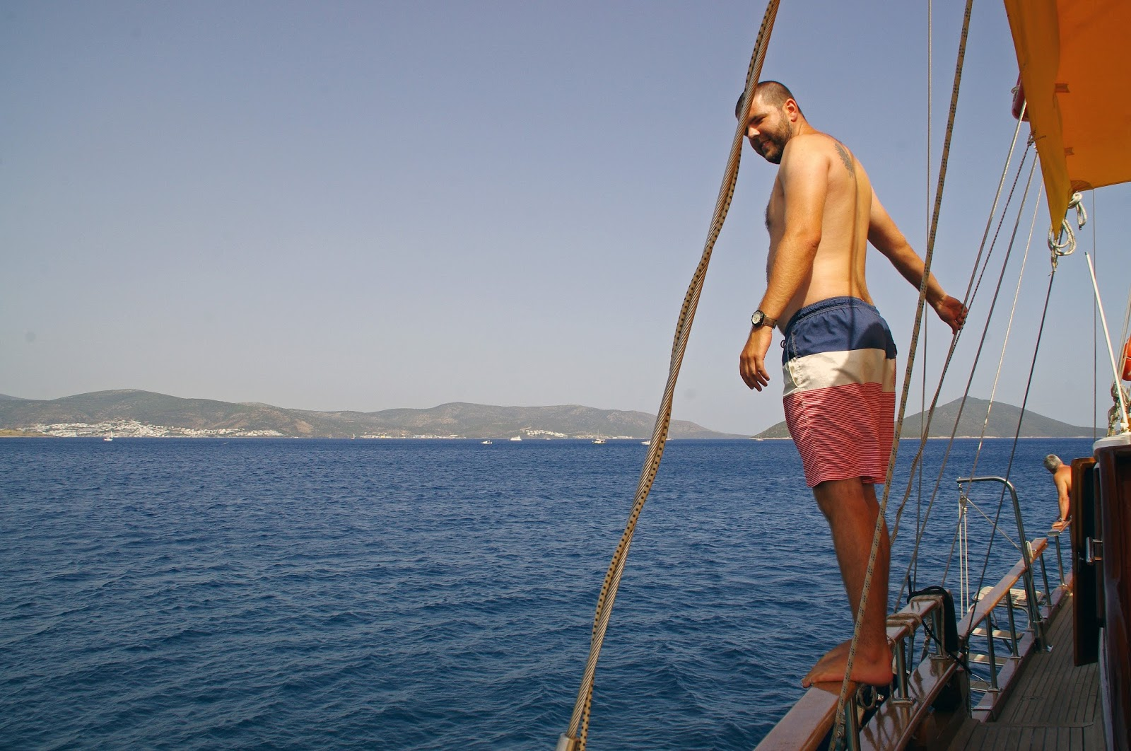 Diving off Turkey sailboat