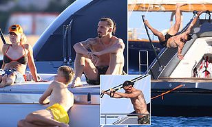 Zlatan Ibrahimovic pictured working out aboard a yacht