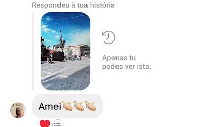 Comentário de uma seguidora num Stories do Instagram
