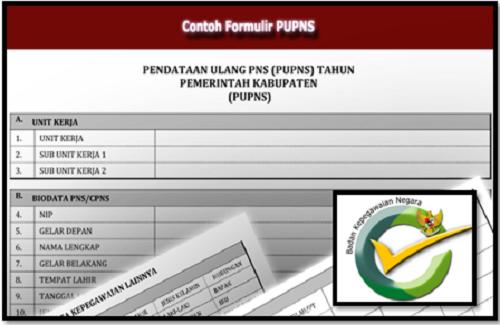 Formulir Pengisian PUPNS Format Microsoft Excel Terbaru