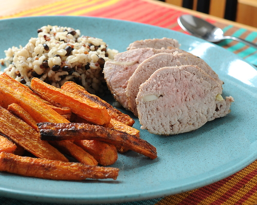 Tender Pork Tenderloin with Cumin Carrot Fries, another Quick Supper ♥ KitchenParade.com, quick-seared pork finished in oven with addictively good roasted carrots.