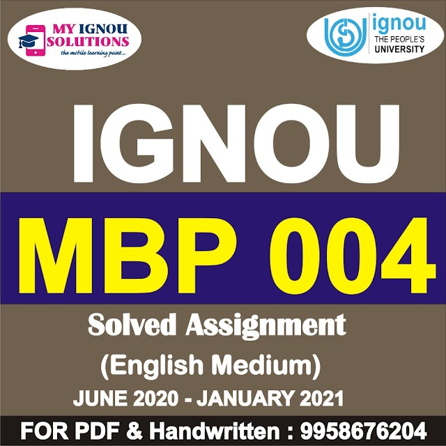 MBP 004 Solved Assignment 2020-21