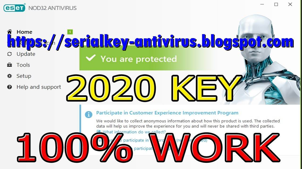License key ESET NOD32 Antivirus valid 2020,2021,2022 ...