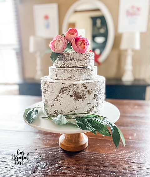 4 layer fake naked cake flower topper cake stand