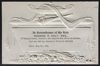 Mourning Card of Richard R. Holt of Hazle Bank, Turton