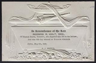 Mourning Card of Richard R. Holt of Hazle Bank, Turton