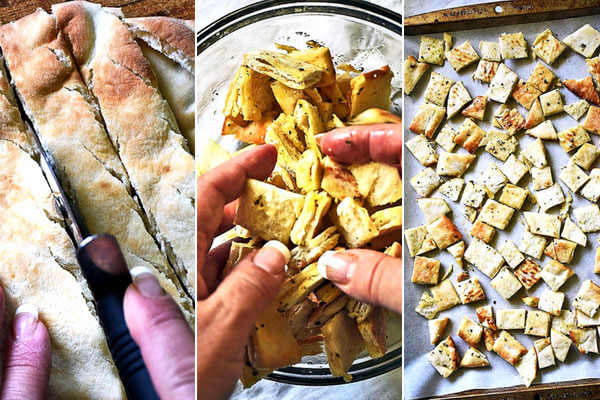 Photo tutorial how to make pita croutons for Gyros Salad