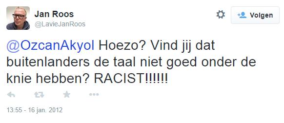 """Jan Roos: """"@MilouskaMeulens Ik vind racist een erge aantijging."""""""