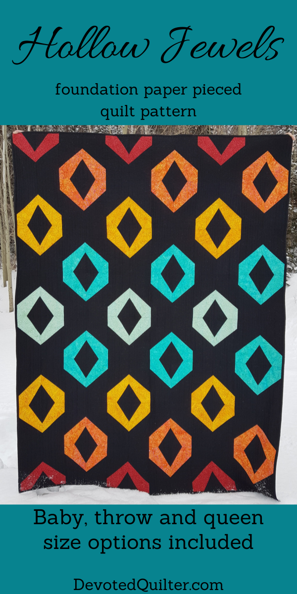 Hollow Jewels quilt pattern (includes baby, throw and queen size options) | DevotedQuilter.com