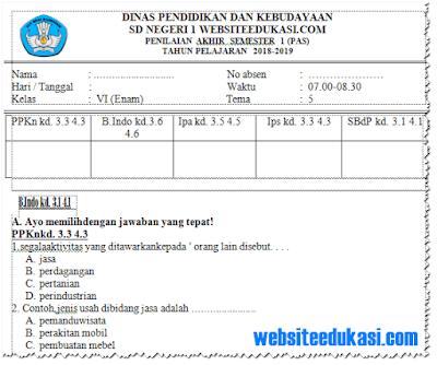 Soal PAS/ UAS Kelas 6 Tema 5 K13 Revisi 2018
